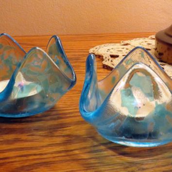 Fused Glass Candle Holders, Clear Glass with touches of Sky Blue, Statteam
