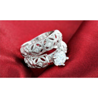 Silver Platinum Plated Engagement Ring With Round AAA Czech CZ diamond
