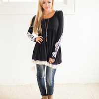 Black and Lacey Baby Doll Top