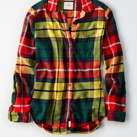 AE Ahh-Mazingly Soft Flannel Boyfriend Shirt, Yellow