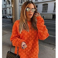 Louis Vuitton LV Fashion Letter Pullover Sweater Orange