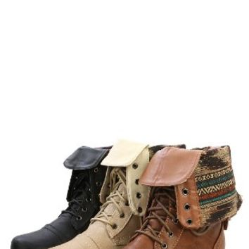 Wild Diva Women Jetta-25F Lace Up Combat Military Boots With Foldable Cuff, Whisky, 6