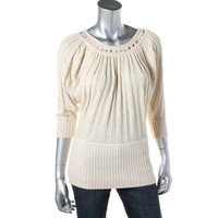 Catherine Malandrino Womens Wool Blend Cable Knit Pullover Sweater