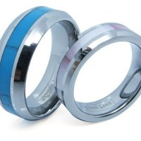 Comfort Fit High Polish Tungsten Carbide Rings 8mm with Synthetic Turquoise Inlay His & 6mm with Pink Shell Inlay Hers Set Aniversary/engagement/wedding Bands Set. Please E-mail Sizes