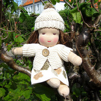 Waldorf doll, organic girl baby doll, all natural, color grown cotton, earth tones, neutral, 10.5inch, soft, green, brown eyed, plush, cosy
