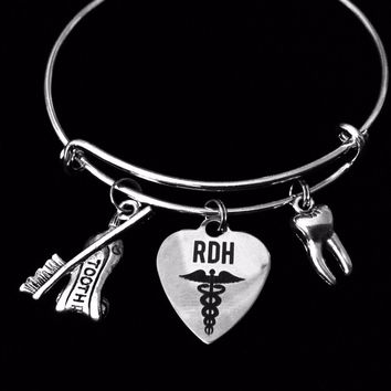 RDH Registered Dental Hygienist Jewelry Adjustable Charm Bracelet Expandable Silver Bangle Toothbrush Tooth Trendy One Size Fits All Gift Dental Assistant Gift
