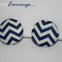 Fabric Covered Chevron Earrings