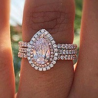 Ladies Romantic Three Layer Pink Zircon Crystal Pear Shaped Engagement Cocktail Ring