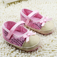 Kids Girls Bowknot Bling Sequin Baby Shoes Infant Prewalker Toddler Crib Shoes NW