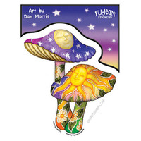 Two Mushrooms Window Sticker on Sale for $2.99 at HippieShop.com