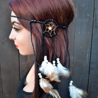 Dreamcatcher Feather Headband - Feather Hairpiece - Hair Accessories - Tribal - Native American - Indian