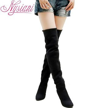 New women pointed toe suede high heels boots autumn winter fashion ladies over the knee long boots Stretch Fabric Slim plus size