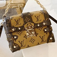 LV  New fashion monogram print leather handbag shoulder bag crossbody bag