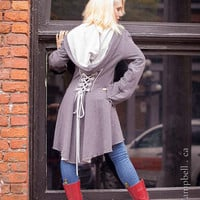 SMOKY GREY corset laced steampunk cloak jacket hoodie pixie fairy red riding hood girly pirate