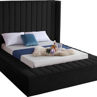 Kiki Black Velvet Full Bed