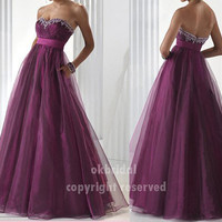 RE073 fashion popular fancy A line crystals cheap prom dresses