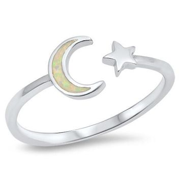 Sterling Silver Opal Inlay Crescent Moon and Star Ring