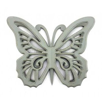 """18.5"""" x 23"""" x 4"""" Gray Rustic Butterfly Wooden  Wall Decor"""