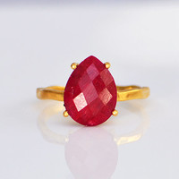 Faceted Ruby 18K Vermeil Gold  or Sterling Silver ring - teardrop peardrop shape stacking prong set ring - July ring