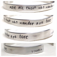 TWO 2 custom quote medical or song lyric bracelets 60 characters inside and outside hand stamped artisan handmade custom