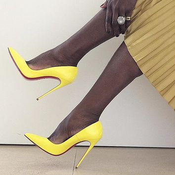 ( S C ) Christian Louboutin 2021 yellow New pointed high heels