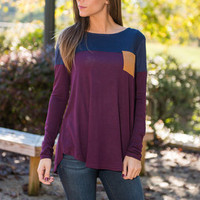 Block The Boat Top, Navy-Wine