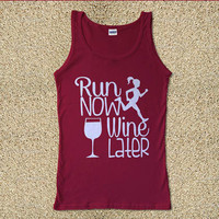 Run Now Wine Later for Tank Top Mens and Tank Top Girls
