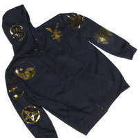 Black hooded sweatshirt w/ large gold metallic symbols all over any color combo baggy zef style ying yang alienwear