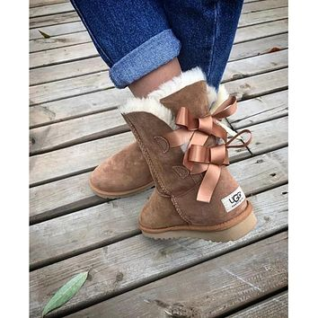UGG Fashion Winter Women Man Cute Bowknot Flat Warm Snow Ankle Boots Shoes-2