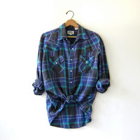 20% OFF SALE...Vintage Plaid Flannel / Washed Out Grunge Shirt / Ely western flannel / Pearl snap buttons