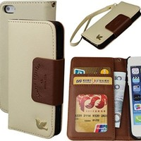 iPhone 5S Case,iPhone 5 Case,By HiLDA,For iPhone 5/5S/SE,Wallet Case,PU Leather Case,Credit Card Holder,Flip Cover Case[Brown]