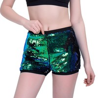 High Waist Shiny Sequins Shorts For Women Plus Size 2017 Summer Ladies Causal Fitness Shorts Sexy Paillette Pole Dance Shorts