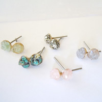 Springtime - Minimalist Raw Stone Stud Earrings - Rose Quartz - Peacock Ore - Apatite - Iolite - Pyrite Gemstones and Minerals