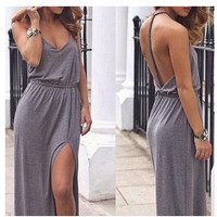 Cotton Twisted Backless Prom Dress One Piece Dress [4919727300]