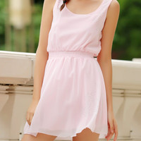 Simple Square Neck Sleeveless Waist Drawstring Solid Color Dress