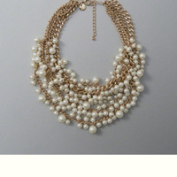 Faux Pearl Cluster Statement Necklace