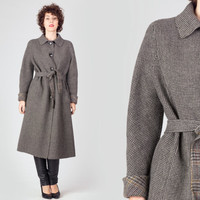 60s Grey Black Belted Wool Coat / 1970s Houndstooth Prince Of Wales Classic Coat / English British Style Medium M Large Coat
