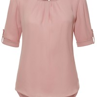 Boat Neck Pleated 3/4 Sleeve Chiffon Blouse Top (CLEARANCE)