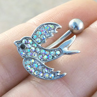 AB Crystal Barn Swallow Sparrow Belly Button Jewelry Ring