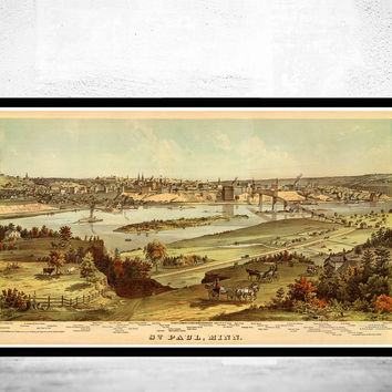 Panoramic View of Saint Paul Minnesota 1874