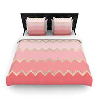 """Monika Strigel """"Avalon Coral Ombre"""" Twin Woven Duvet Cover - Outlet Item"""