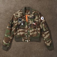 Patched Camo Bomber Jacket