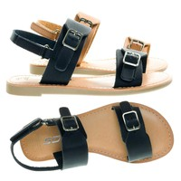 MixupIIs Black by Soda, Children Girl's Flat Sandal Double Buckle & Sling Back Hook & Loop