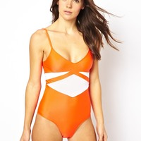 Motel Love Me Swimsuit With Contrast Print - Neon coral