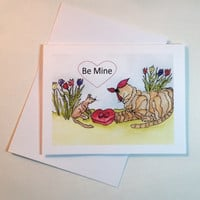 Valentine Card, Print from Original Watercolor, Cat and Adoring Mouse,  Envelope & Sleeve Included
