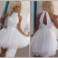 ZZ0837 2016 Elegant Halter Tulle Homecoming Dresses New Arrival Halter Sleeveless Off the Shoulder Party Dresses Prom dresses