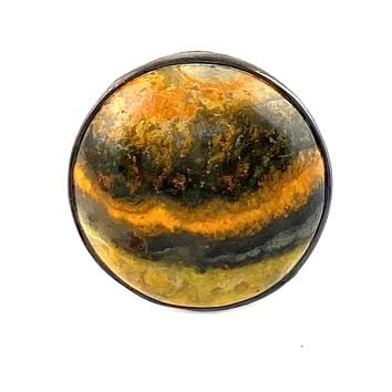 Bumble Bee Jasper Sterling Silver Round Ring