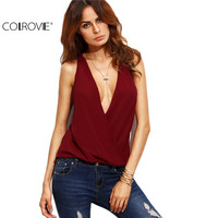 COLROVIE Burgundy Deep V Neck Cut Out Back Sleeveless Shirt Women Plunge Loose Tops Summer Plain Sexy Blouse
