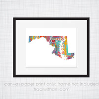 Maryland Love - MD Canvas Paper Print:  Grunge, Watercolor, Rustic, Whimsical, Colorful, Digital, Silhouette, Heart, State, United States