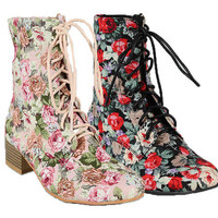 New Ankle Mid-Calf Lace Up Military Combat Boot Booties Floral Print Moda01 6-10
